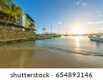 luxury yachts along grand baie... | Shutterstock . vector #654893146