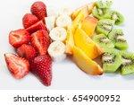 assorted fruits and berries ... | Shutterstock . vector #654900952
