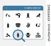 set of 12 editable folks icons. ...