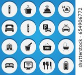 set of 16 editable plaza icons. ... | Shutterstock .eps vector #654906772