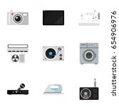 set of 9 editable technology... | Shutterstock .eps vector #654906976