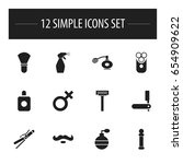 set of 12 editable tonsorial...
