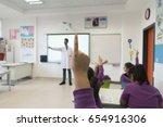 elementary school student girls ... | Shutterstock . vector #654916306