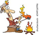 cartoon man roasting...   Shutterstock .eps vector #654916996
