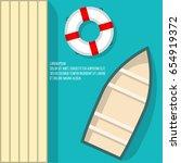 boat on beach vector... | Shutterstock .eps vector #654919372