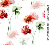 seamless pattern with poppy and ... | Shutterstock . vector #654922825
