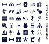 fitness icons set. set of 36... | Shutterstock .eps vector #654925615