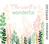 hand drawn plant background... | Shutterstock .eps vector #654931162
