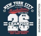 new york manhattan sport wear... | Shutterstock .eps vector #654937426