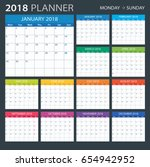 2018 calendar planner   monday... | Shutterstock .eps vector #654942952