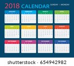 vector template of color 2018... | Shutterstock .eps vector #654942982