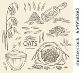 collection of oats  plate and... | Shutterstock .eps vector #654956362