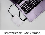 top view silver hard disk... | Shutterstock . vector #654970066
