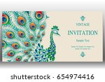 invitation card templates with... | Shutterstock .eps vector #654974416