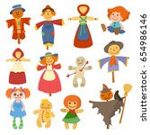 different dolls toy character... | Shutterstock .eps vector #654986146