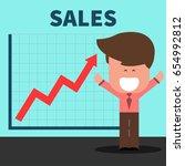 happy businessman jump over... | Shutterstock .eps vector #654992812