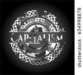 capitalism on grey camo pattern | Shutterstock .eps vector #654998878