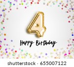 4th birthday celebration with... | Shutterstock . vector #655007122