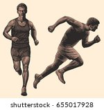 runner. design set. hand drawn... | Shutterstock .eps vector #655017928