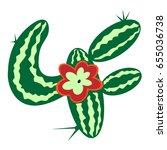 cactus flower. isolated vector... | Shutterstock .eps vector #655036738