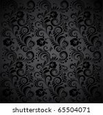Black Seamless Floral Pattern.