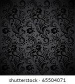 Black Seamless Floral Pattern.