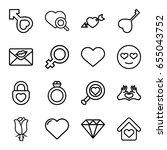 romance icons set. set of 16... | Shutterstock .eps vector #655043752