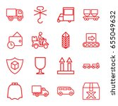 delivery icons set. set of 16... | Shutterstock .eps vector #655049632