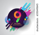 9th years anniversary logo with ... | Shutterstock .eps vector #655049845