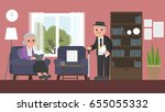 grandfather is standing and... | Shutterstock .eps vector #655055332