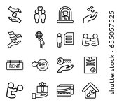 holding icons set. set of 16... | Shutterstock .eps vector #655057525