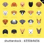 dog faces icon cartoon set...   Shutterstock .eps vector #655064656