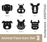 animal face flat icons set ... | Shutterstock .eps vector #655075162