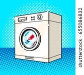 washing machine pop art style... | Shutterstock .eps vector #655086832