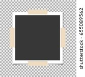 photo frame with sticky tape on ... | Shutterstock .eps vector #655089562