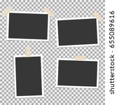 photo frame with sticky tape on ... | Shutterstock .eps vector #655089616