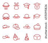 hat icons set. set of 16 hat... | Shutterstock .eps vector #655095826