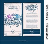 wedding invitation card with... | Shutterstock .eps vector #655097536