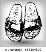 flip flops  sandal hand drawn ... | Shutterstock .eps vector #655104802