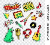 musical doodle with music... | Shutterstock .eps vector #655106386