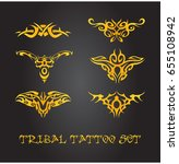 tribal tattoo ornaments | Shutterstock .eps vector #655108942