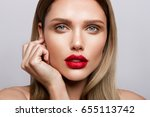 beautiful young model with red... | Shutterstock . vector #655113742
