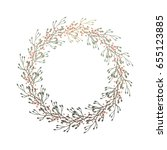 round frame of twigs and...   Shutterstock .eps vector #655123885