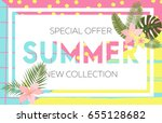 summer sale banner design with... | Shutterstock .eps vector #655128682