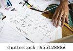 visual design thinking drawing... | Shutterstock . vector #655128886