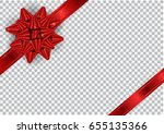 red ribbon with bow on...   Shutterstock .eps vector #655135366
