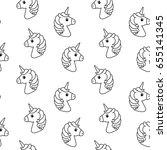 unicorn vector seamless pattern.... | Shutterstock .eps vector #655141345