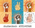 fist  and two fingers on color... | Shutterstock .eps vector #655143568