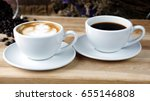 cups of latte or cappuccino and ... | Shutterstock . vector #655146808