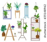 set of vector indoor plants on... | Shutterstock .eps vector #655148962